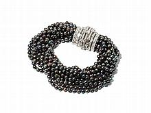 Marianne Ostier, Cultured Pearl & Diamond Bracelet, 1950s
