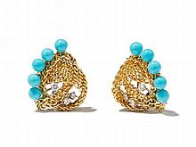Seaman Schepps, Turquoise & Diamond Earclips, 1950s