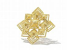Gold Brooch/Pendant in Geometric Design, USA, 1970s