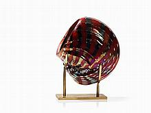 Jack Ink, Glass Sculpture 'Red Nautilus', Austria, c. 1990