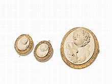 Jewelry Set with Lava Cameos, Silver Gilt, Mid-19th C.
