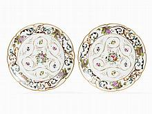 Pair of Porcelain Plates with Floral Design, Popow, Mid-19th C.
