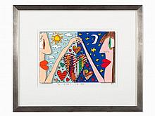 James Rizzi, Color Lithograph, 'Love is in the Air', USA, 1989