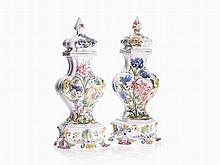 Pair of Faience Lidded Vases, G.B.V. Nove, Italy, c. 1950