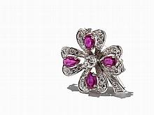 Gold Brooch, Four-Leaf Clover with Rubies and Diamonds
