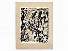 Erich Heckel (1883-1970), Lithograph, 'Tübingen', 1920