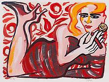 Elvira Bach (b. 1951), Lithograph, Reclining Woman, 2004