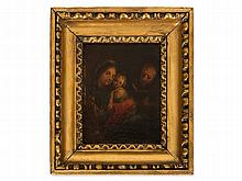 Miniature, Oil Painting on Metal, Family Scene, 19th Century