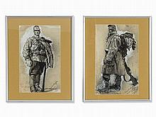 Roland Strasser (1892-1974), 2 Drawings, Soldiers, 1914/15