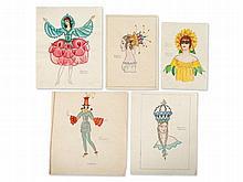 Five coloured fashion designs by Franz Wacik, 20th Century