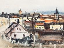 Sergius Pauser (1876-1970), Watercolor, 'Skoogow', 1934