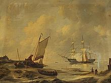 Jan Christianus Schotel (1787-1838), Shipping at a Shore, 19 C