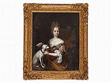 Constantijn Netscher (c.1668-1723), Lady with Whippet, 17th C