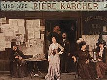 Léon Zeytline (1885-1962), Coffee House Scene, Oil, 20th C.