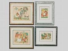 Four colour lithographs by Françoise Deberdt, France, 1990s