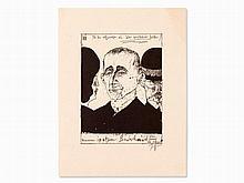 Horst Janssen, Zinc Etching, Bertold Brecht, 1970