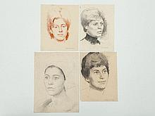 4 Portrait drawings signed E. M. Müller, Germany 1950s