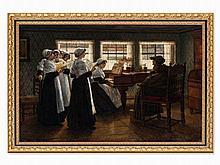 Walter Firle (1859-1929), Morning Prayer, Oil Painting, c. 1884
