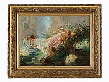 Hans Zatzka (1859-1945) Attr., Elves by the Stream, 1910/20s