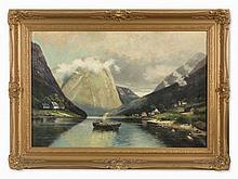 Karl Kaufmann (1843-1901/05), Norwegian Fjord, Oil, 1890s
