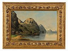 Karl Kaufmann (1843-1905), Fjord Landscape, Oil/Canvas, 1890s