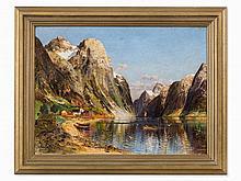 Karl Kaufmann (1843-1901/05), Norwegian Fjord, Oil, c. 1900
