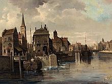 August von Siegen (1820-1883), Cityscape, Oil, 19th Century