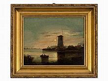 Dutch School, Moonlit River Landscape, Oil Painting, 19th C.