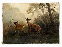 Christian Johann Kröner, Forest Clearing with Deer Herd, c 1890