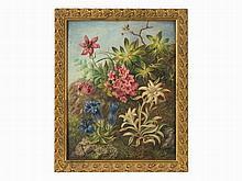 Marie Kartsch (1848-?), Gentian & Cyclamen, Oil, Late 19th C.