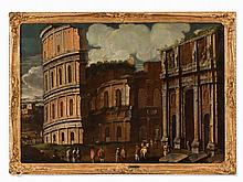 Capriccio with the Colosseum, Oil, Italian School, 17th C.