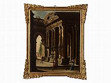 Italian School, Architectural Capriccio, Oil, 17th Century