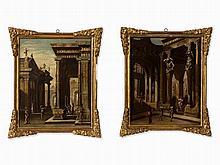 Italian School, Two Architectural Capricci, Oil, 17th C.