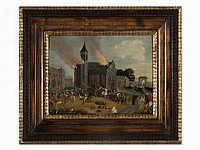 Jacques Callot (1592-1635), attr., Burning Church, Oil, 17th C.