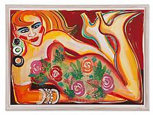 Elvira Bach, Acrylic Painting, Reclining Woman on Red, 2006