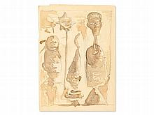 Walter Dahn (b. 1954), Drawing, Grotesque Figures, ca. 1985