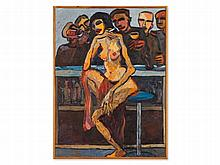 Mohamed Drissi (1946-2003), Oil Painting, Nude Behind Bar, 1993