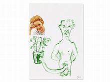 John Bock (b. 1965), Collage with Self-Portrait, 1995