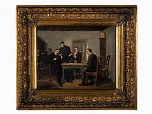 Leopold Till, Card Players, Oil Painting, Austria, Mid-19th C.