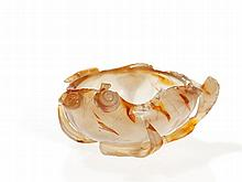 Lotus Leaf Bowl of Cut Agate, China, 19th / 20th Century
