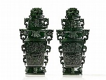 A Pair of Spinach Jade Vases, Imposing Archaic Décor, 20th C