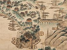 Pan Gongshou Scroll Painting 'Bustling Port City', Qing, 18th C