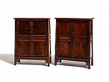 Pair of Miniature Huanghuali Cabinets, Ming style, China, Qing
