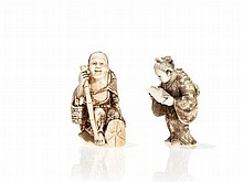 Two Signed Ivory Netsuke of a Fine Lady and a Scholar, Meiji