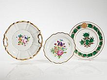 Floral Plates with Gold Painting, KPM & Augarten, 20th C