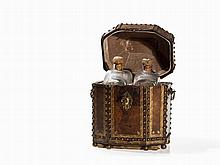Leather Travelling Cellarette with Two Glass Decanters, 18th C.