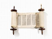Large Parchment Torah Scroll, Eastern Europe, 19th C.