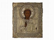 Icon, Christ Pantocrator With Silver Oklad, Russia, 19th C.
