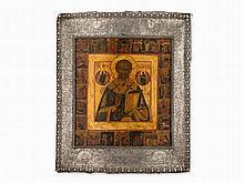 Icon, St. Nicholas With A Silver Basma, Russia, um 1808