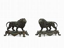 Edouard Delabrierre, Pair of Bronze Lions, late 19th C.